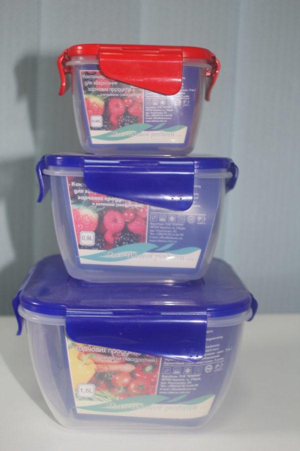 Контейнер для харчових продуктів з зажимом квадратний
