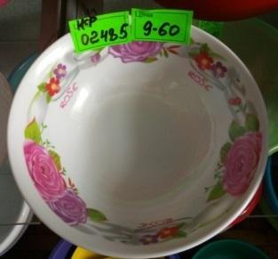 Миска для супу велика з квітами (діаметр 18,6 см.)